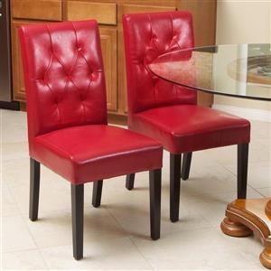 Chaise de cuisine Gentry, cuir reconstitué rouge, ens. de 2
