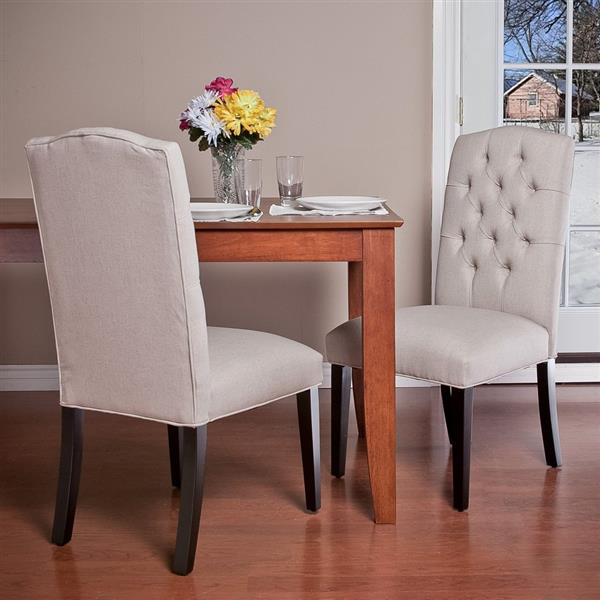 Crown Top Dining Chairs - Off-white -  Set of 2