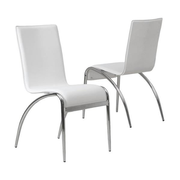 Best Selling Home Decor Set of 2 Kensington Contemporary White Side Chairs