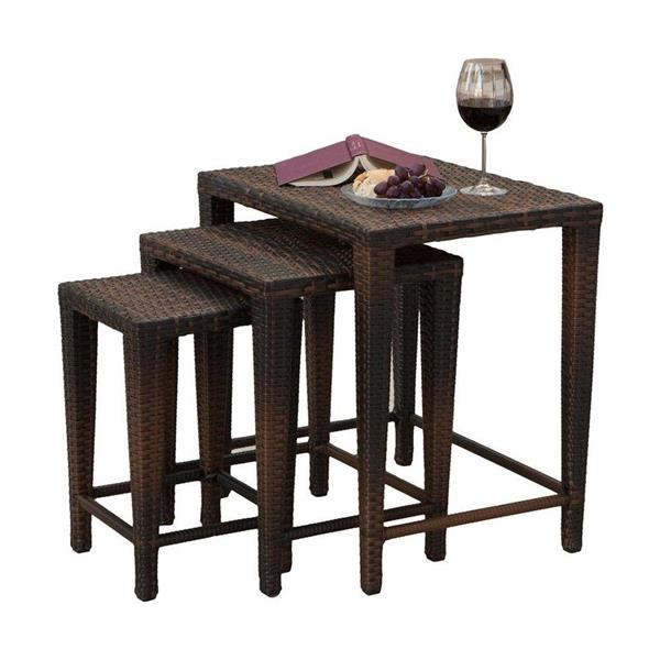 Best Selling Home Decor 3-Piece Multi-Brown Accent Table Set