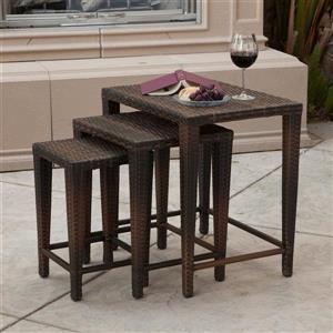 Ensemble de table gigogne pour le patio, Brun, 3 pièces