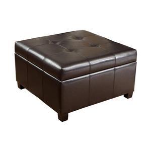 Best Selling Home Decor Richmond Casual Espresso Faux Leather Storage Ottoman