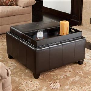 Best Selling Home Decor Mansfield Casual Espresso Faux Leather Storage Ottoman