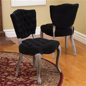 Best Selling Home Decor Set of 2 Bates Traditional Black Side Chairs