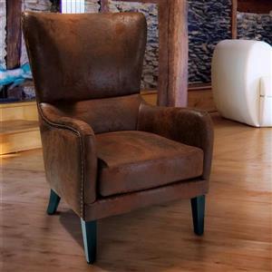 Best Selling Home Decor Lorenzo Rustic Distressed Brown Microfiber Club Chair