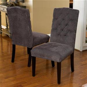 Best Selling Home Decor Set of 2 Crown Top Dark Grey Side Chairs