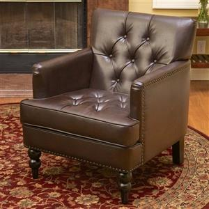 Best Selling Home Decor Malone Casual Brown Faux Leather Club Chair