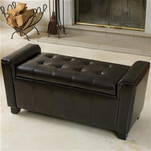 Best Selling Home Decor Bosworth Brown Faux Leather Rectangular Storage Ottoman