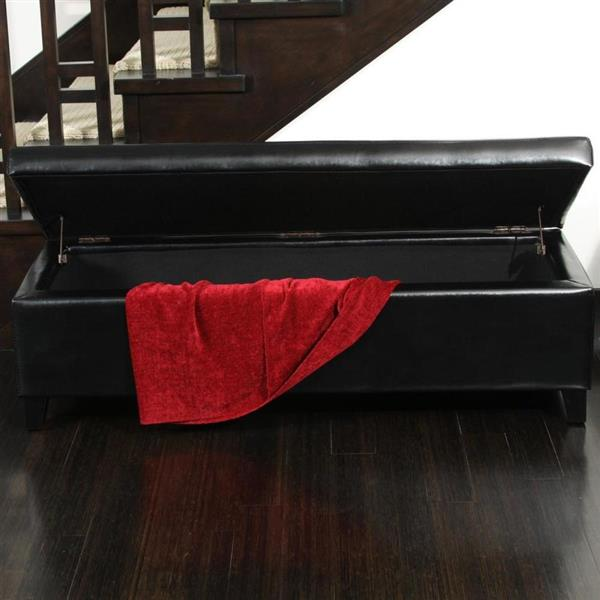 Best Selling Home Decor York Casual Black Faux Leather Storage Ottoman