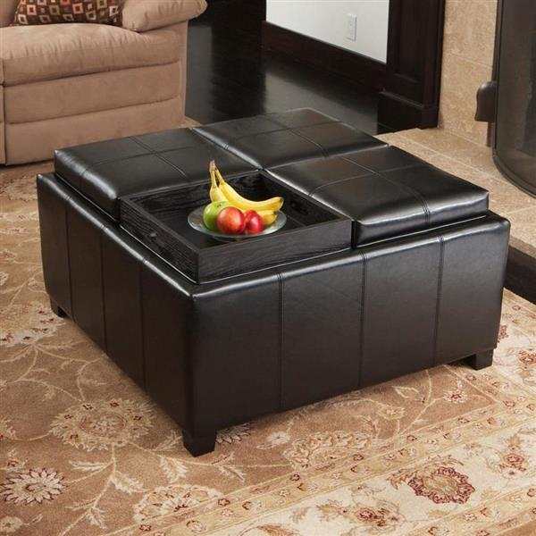 Best Selling Home Decor Dartmouth 4-Section Storage Ottoman- Bonded Leather-Espresso