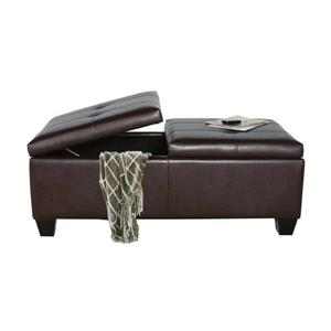 Best Selling Home Decor Alfred Casual Brown Faux Leather Storage Ottoman