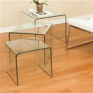 Best Selling Home Decor Ramona 3-Piece Clear Accent Table Set