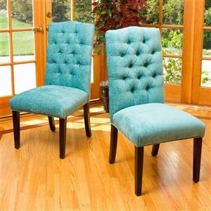 Best Selling Home Decor Set of 2 Crown Top Teal Green Side Chairs