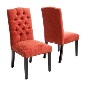 Best Selling Home Decor Set of 2 Crown Top Burnt Orange Side Chairs