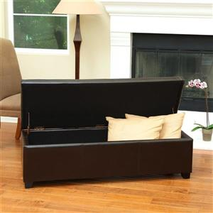 Best Selling Home Decor Glouster Casual Brown Faux Leather Storage Ottoman