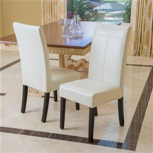 Best Selling Home Decor Set of 2 Lissa Ivory Side Chairs