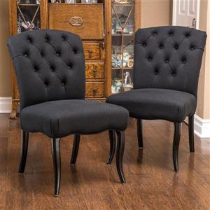 Best Selling Home Decor Set of 2 Hallie Traditional Black Side Chairs