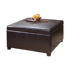Forrester Square Storage Ottoman - Bonded Leather - Brown