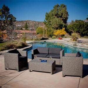 Best Selling Home Decor Puerta 4-Piece Wicker Frame Patio Conversation Set with Black Cushions