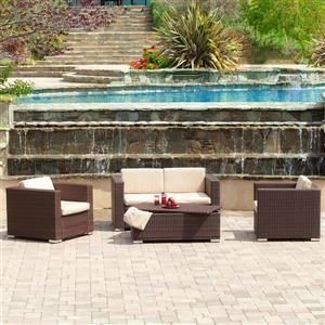 Best Selling Home Decor Murano 4-Piece Wicker Frame Patio Conversation Set with Beige Cushions