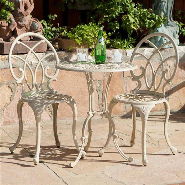 Best Selling Home Decor Anacapa 3-Piece Tan Metal Frame Bistro Patio Dining Set