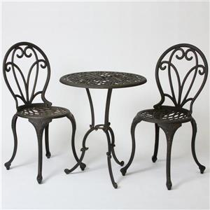 Best Selling Home Decor Thomas 3-Piece Black Metal Frame Bistro Patio Dining Set