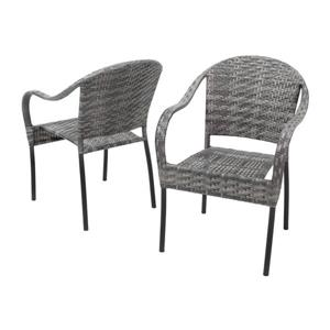 Best Selling Home Decor Sunset Set of 2 Wicker Stackable Iron Dining Chair with Woven