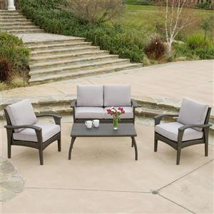 Honolulu Outdoor Conversation Set - Wicker - Grey
