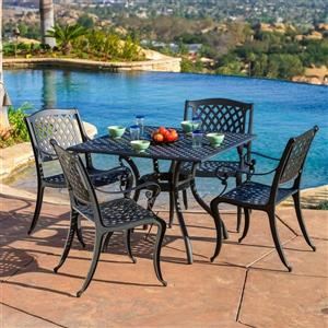 Hallandale 5-Piece Outdoor Dining Set - Metal - Black Sand