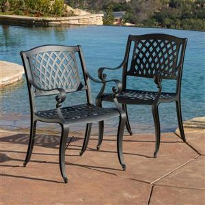 Ensemble de 2 chaises de patio Hallandale, sable noir