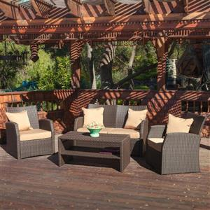 Sanger 4-Piece Outdoor Conversation Set - Brown/Sand