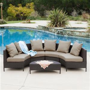 Best Selling Home Decor Newton 5-Piece Wicker Frame Patio Conversation Set with Khaki tan Cushions