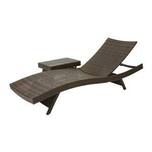 Ensemble chaise longue et table pour patio, plastique, brun