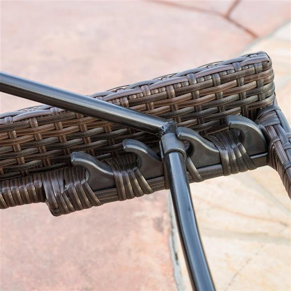 Ensemble de 4 chaises longues Toscana, osier, brun