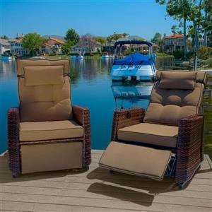 Best Selling Home Decor Brown Wicker Recliner