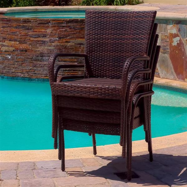 Best Selling Home Decor Set of 4 Wicker Stackable Plastic Dining Chair with Woven