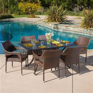 Cliff Outdoor Dining Set - 7 Pieces - Bronze/Mixed Brown