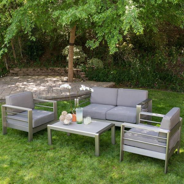 Best Selling Home Decor Mililani 4-Piece Outdoor Conversation Set - Silver