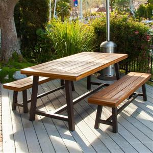 Best Selling Home Decor Carlisle Outdoor Dining Set - Rustic Iron/Sandblast Wood