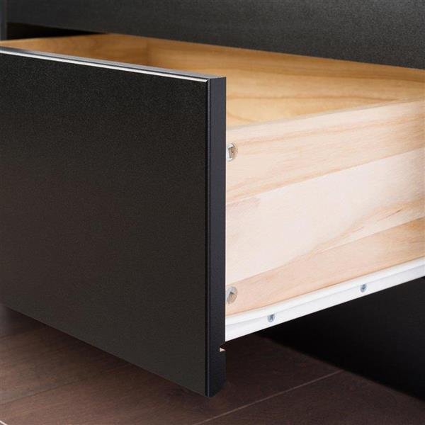 Prepac Black Twin Platform Bed with Storage
