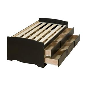 Prepac Captain's Black Twin Platform Bed with Storage