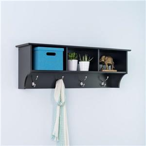 Prepac Black 8-Hook Wall Mounted Coat Rack