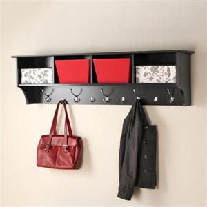 Prepac Black 9-Hook Wall Mounted Coat Rack