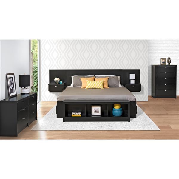 Tête de lit flottante avec tables de nuit intégrées, noir