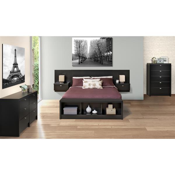 """Tête de lit flottante pour grand lit, 107,25"""" x 31,5"""", noir"""