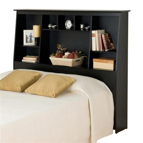 Prepac Black Full/Queen Slant-Back Bookcase Headboard
