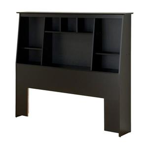Prepac Black Full/Queen Slant-Back Bookcase Headboard
