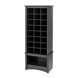 Prepac 24-pair Black Wood Shoe Cubbie Cabinet