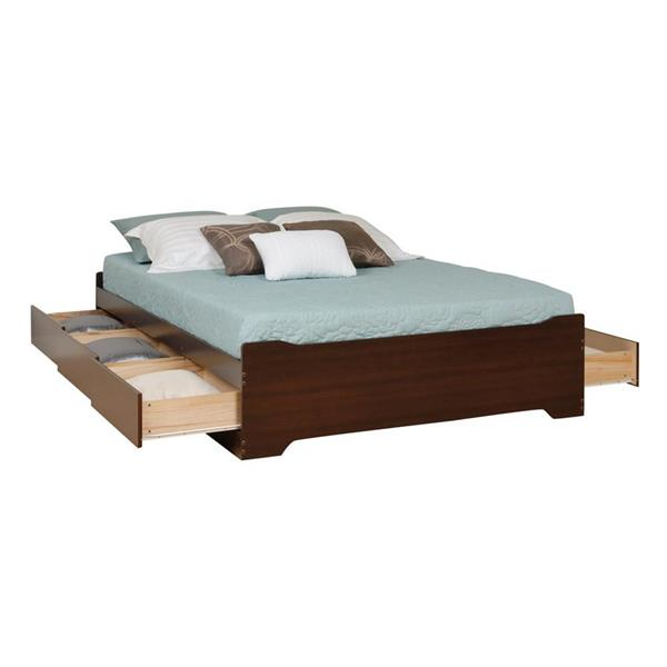 Prepac Coal Harbor Espresso Full Platform Bed with Storage
