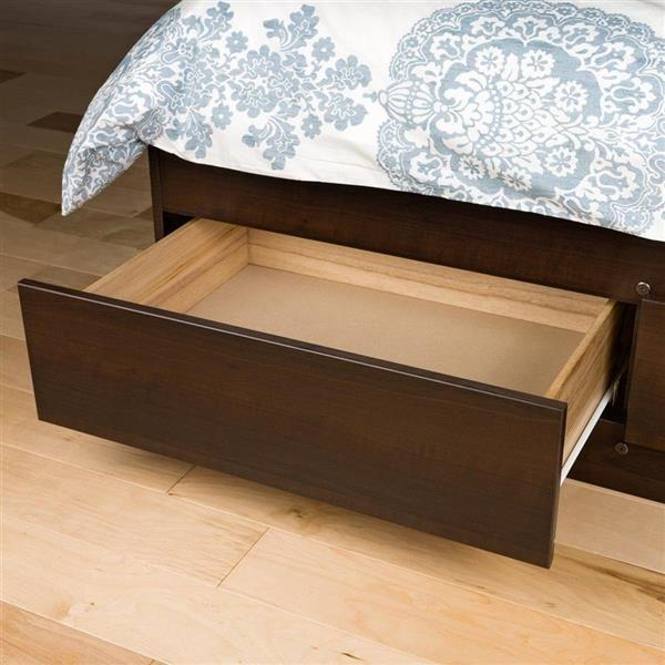Prepac Mate's Espresso Queen Platform Bed with Storage